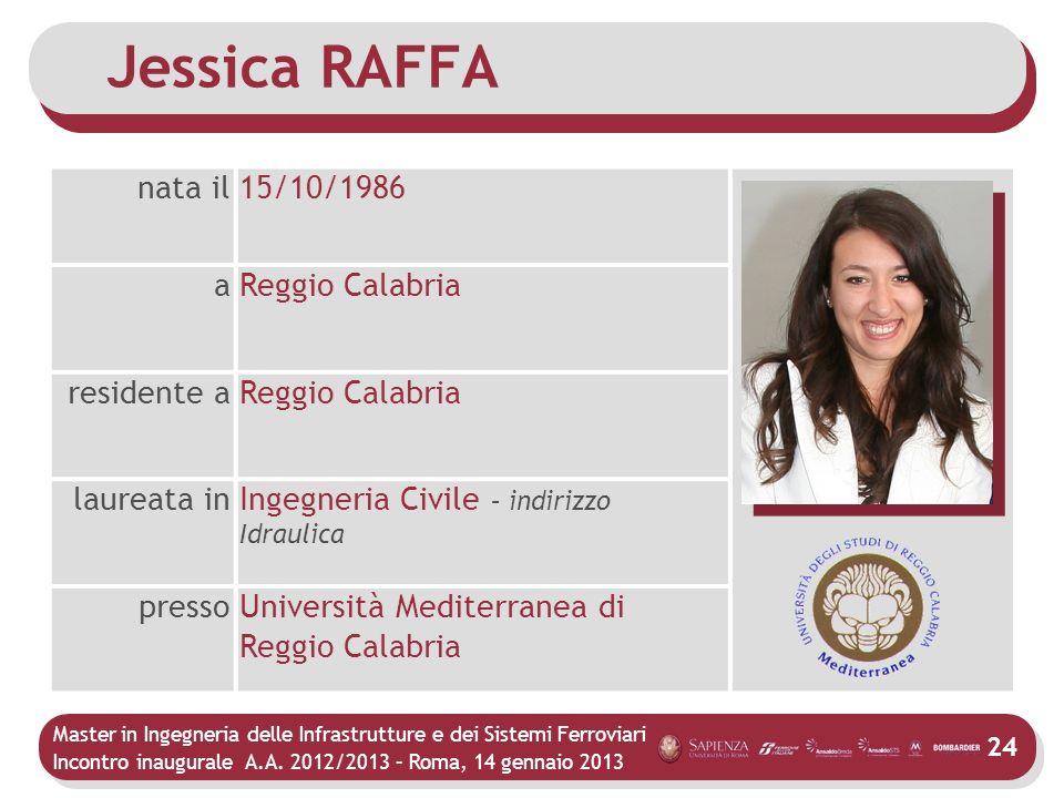 Jessica RAFFA nata il 15/10/1986 a Reggio Calabria residente a