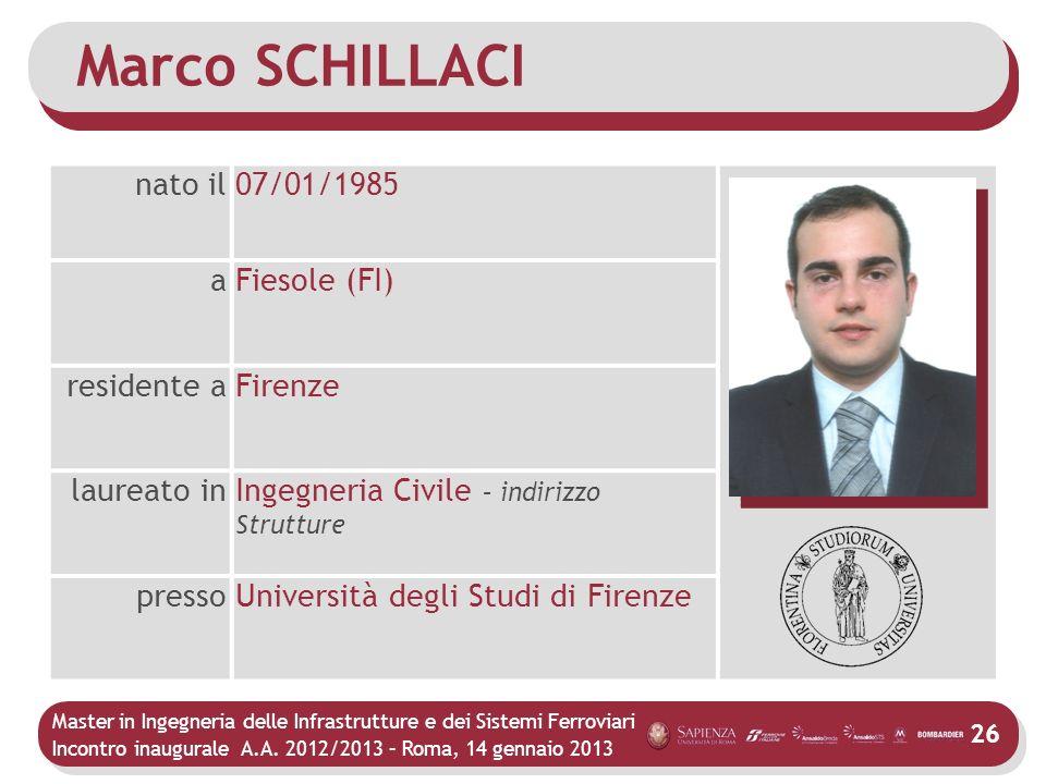 Marco SCHILLACI nato il 07/01/1985 a Fiesole (FI) residente a Firenze