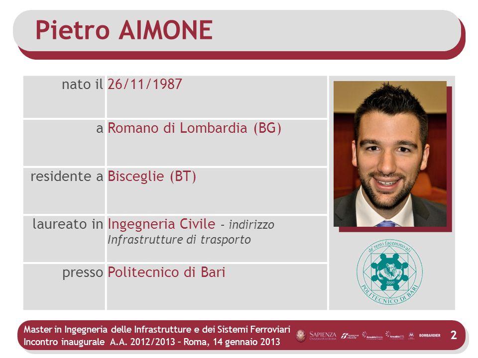 Pietro AIMONE nato il 26/11/1987 a Romano di Lombardia (BG)