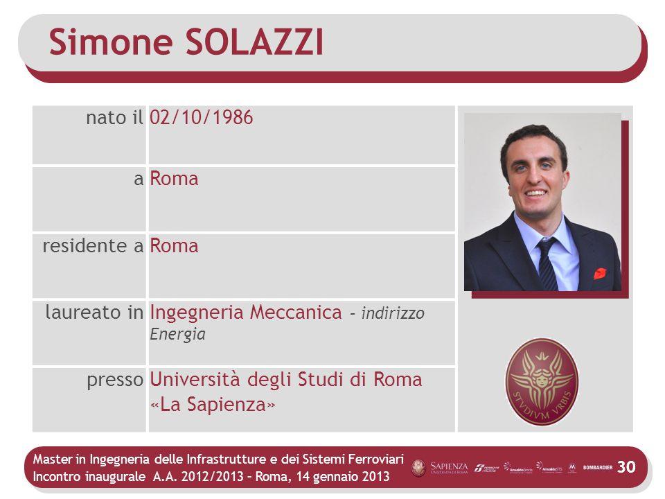 Simone SOLAZZI nato il 02/10/1986 a Roma residente a laureato in
