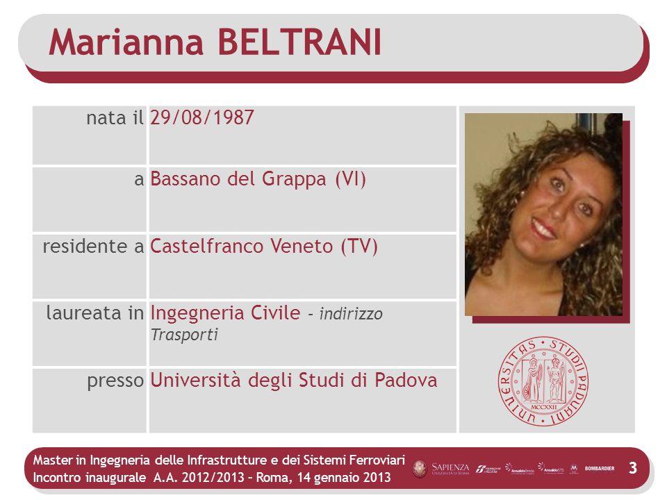 Marianna BELTRANI nata il 29/08/1987 a Bassano del Grappa (VI)