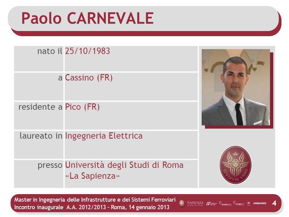 Paolo CARNEVALE nato il 25/10/1983 a Cassino (FR) residente a