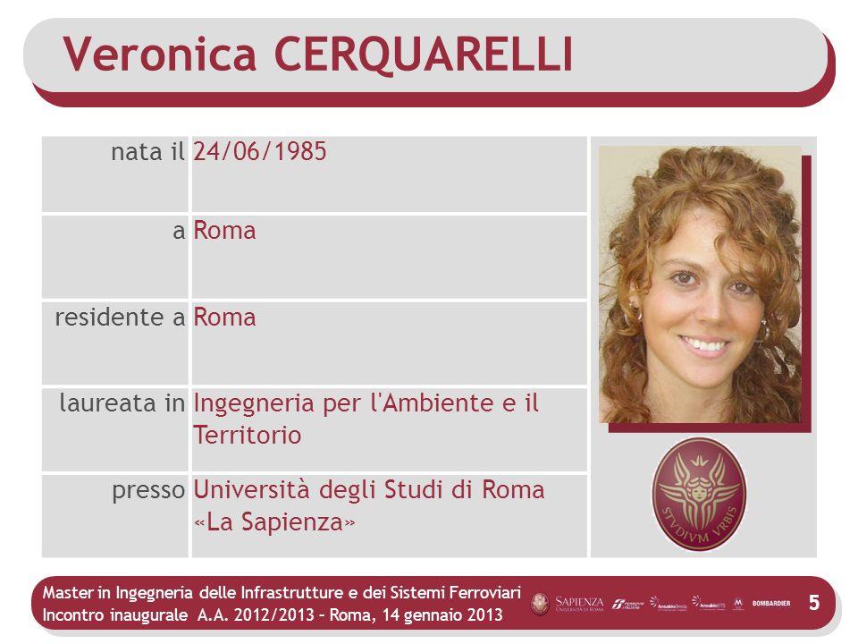Veronica CERQUARELLI nata il 24/06/1985 a Roma residente a laureata in