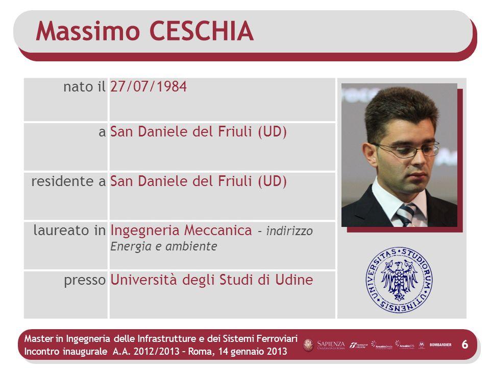Massimo CESCHIA nato il 27/07/1984 a San Daniele del Friuli (UD)