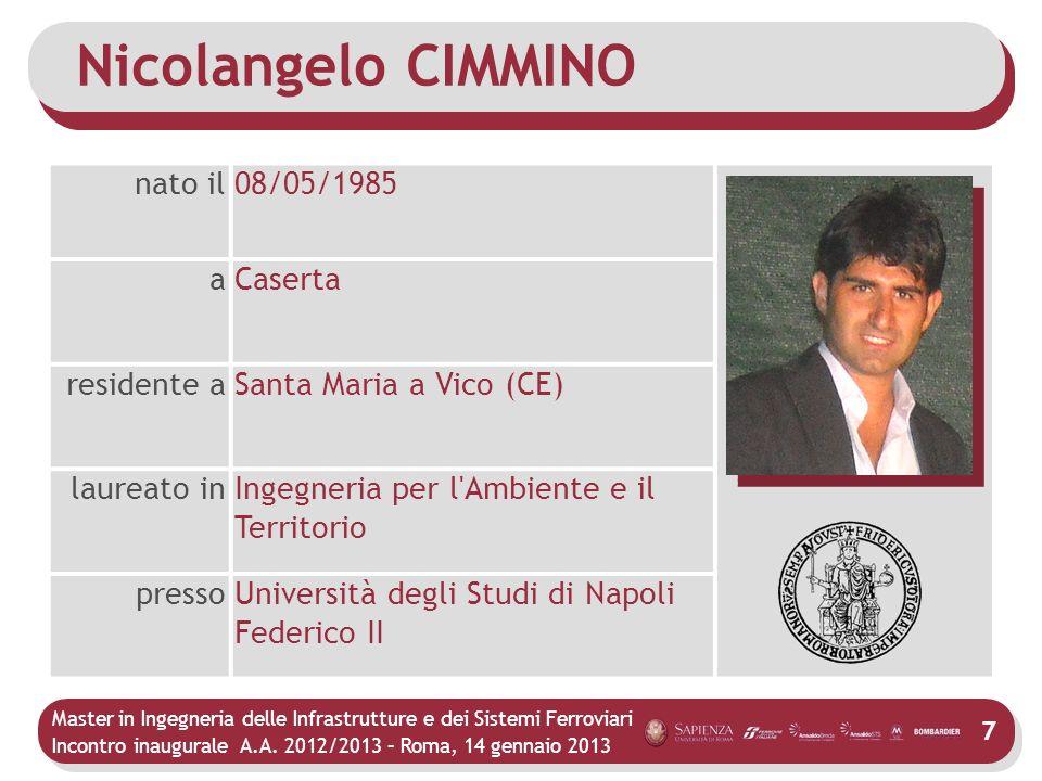 Nicolangelo CIMMINO nato il 08/05/1985 a Caserta residente a