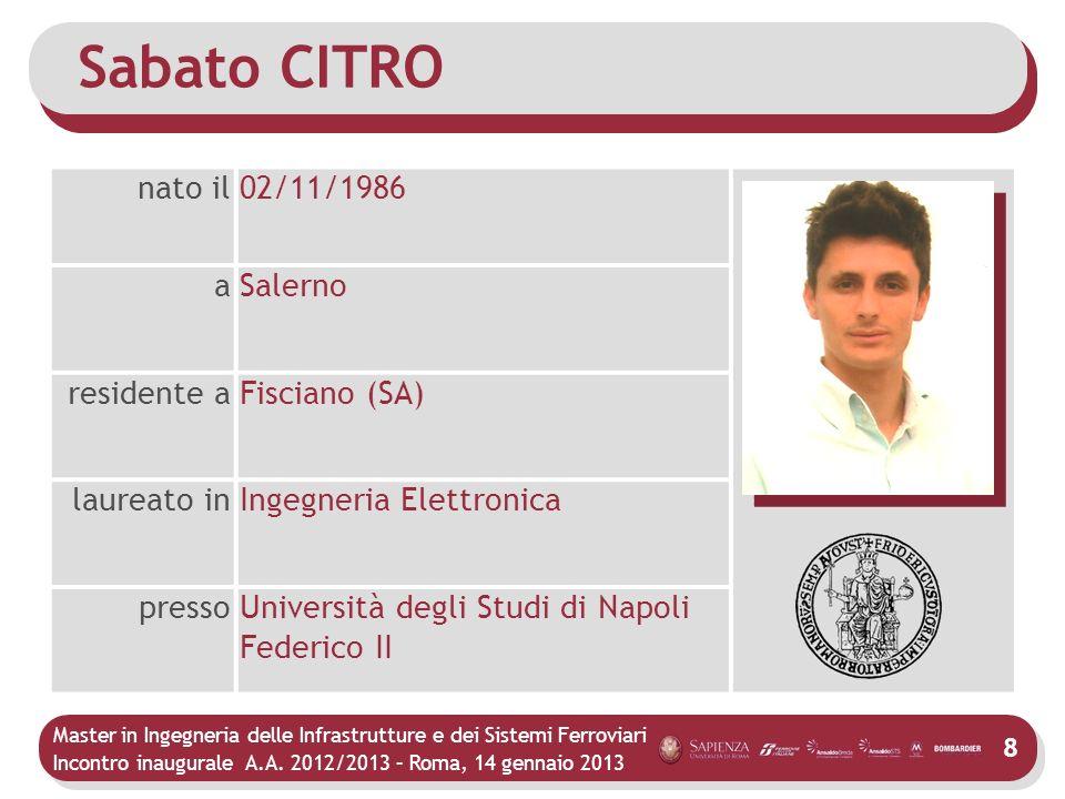 Sabato CITRO nato il 02/11/1986 a Salerno residente a Fisciano (SA)