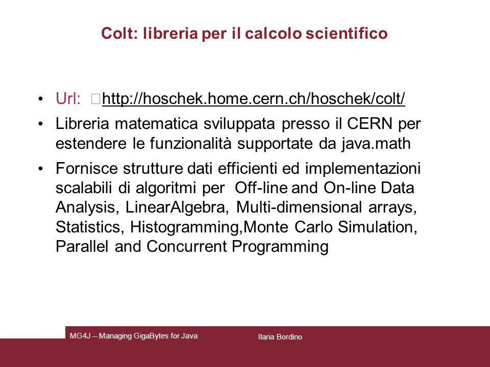 Colt: libreria per il calcolo scientifico
