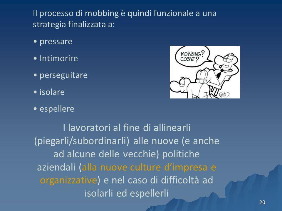 Il processo di mobbing è quindi funzionale a una strategia finalizzata a: