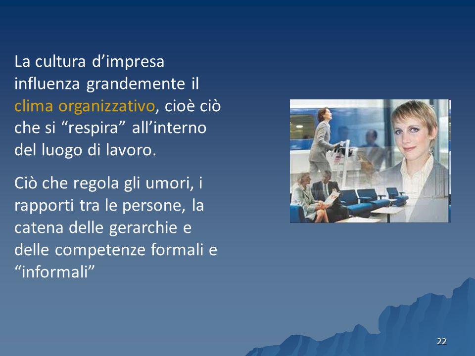 La cultura d'impresa influenza grandemente il clima organizzativo, cioè ciò che si respira all'interno del luogo di lavoro.