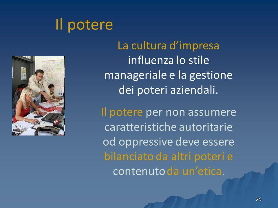 Il potere La cultura d'impresa influenza lo stile manageriale e la gestione dei poteri aziendali.