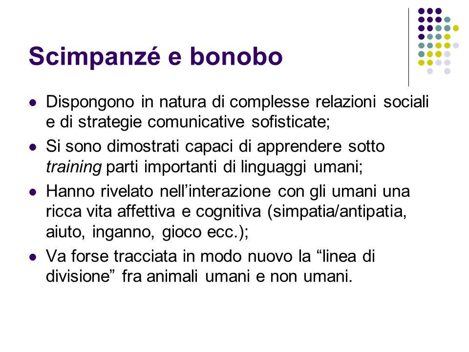 Scimpanzé e bonobo Dispongono in natura di complesse relazioni sociali e di strategie comunicative sofisticate;