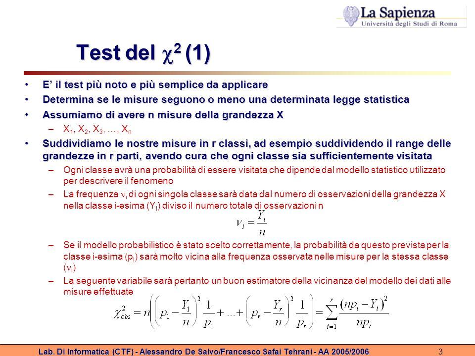 Test del 2 (1) E' il test più noto e più semplice da applicare