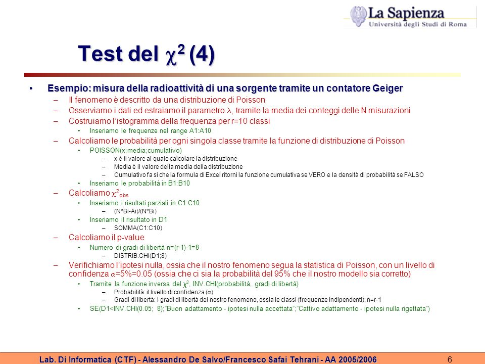 Test del 2 (4) Esempio: misura della radioattività di una sorgente tramite un contatore Geiger.