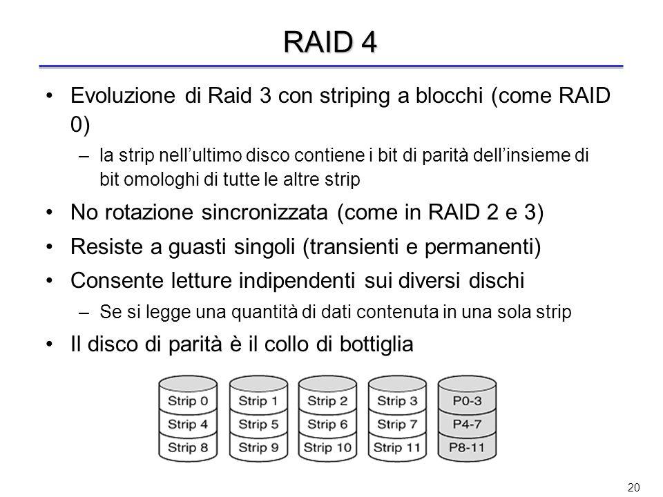 RAID 4 Evoluzione di Raid 3 con striping a blocchi (come RAID 0)