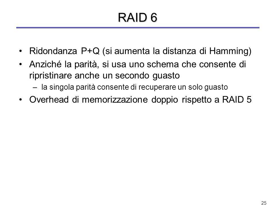 RAID 6 Ridondanza P+Q (si aumenta la distanza di Hamming)
