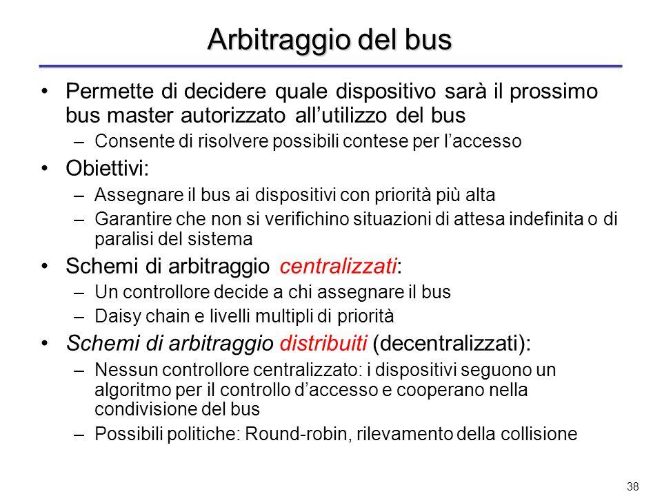 Arbitraggio del bus Permette di decidere quale dispositivo sarà il prossimo bus master autorizzato all'utilizzo del bus.