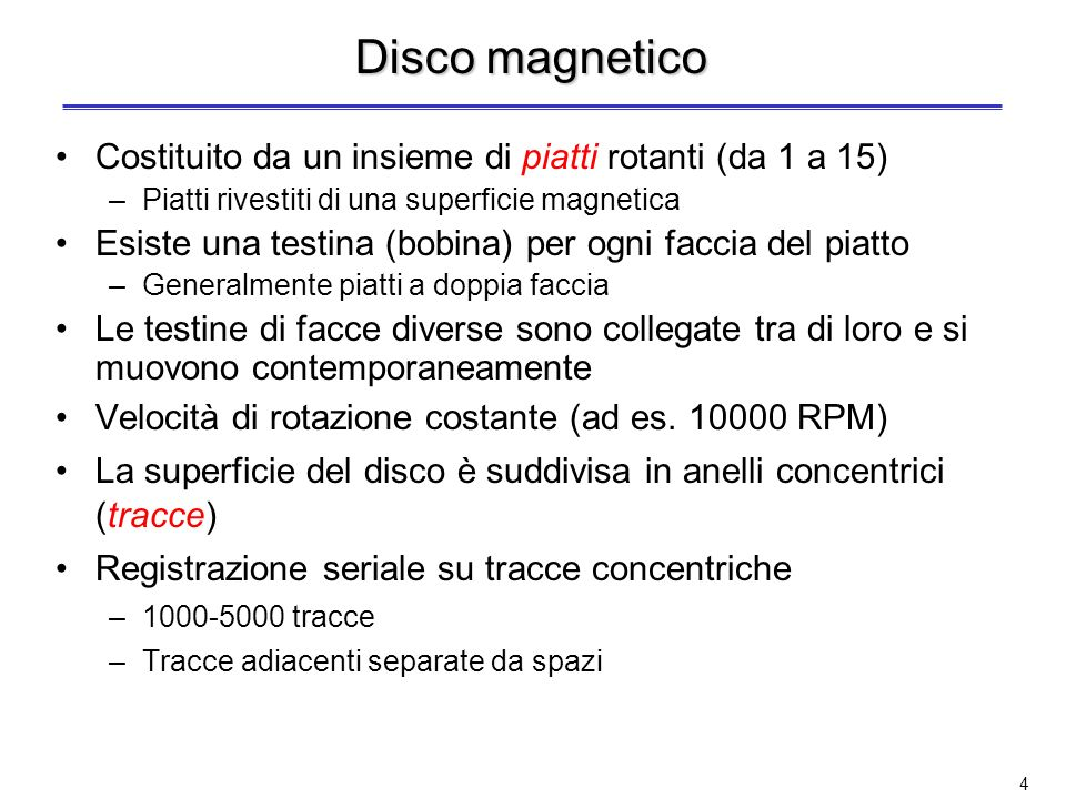Disco magnetico Costituito da un insieme di piatti rotanti (da 1 a 15)