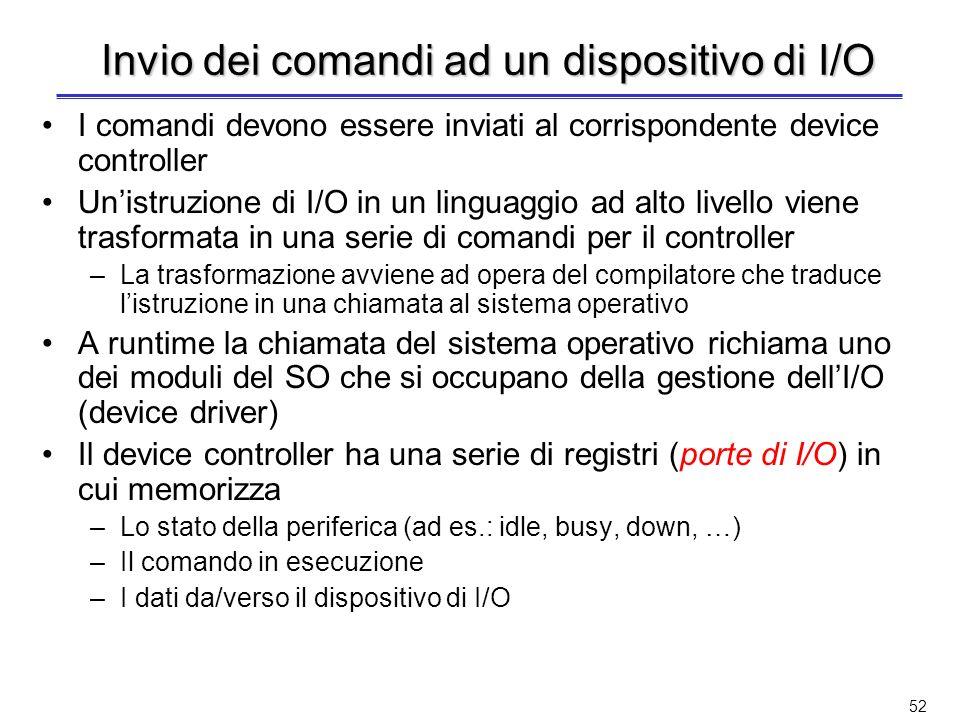 Invio dei comandi ad un dispositivo di I/O