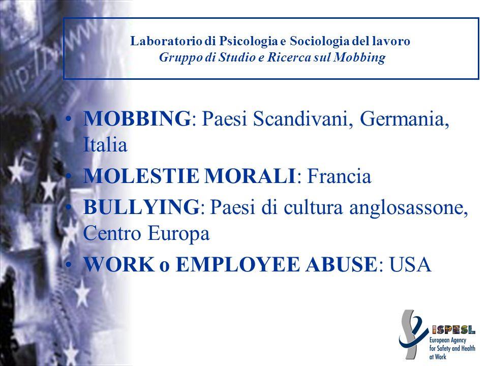 MOBBING: Paesi Scandivani, Germania, Italia MOLESTIE MORALI: Francia