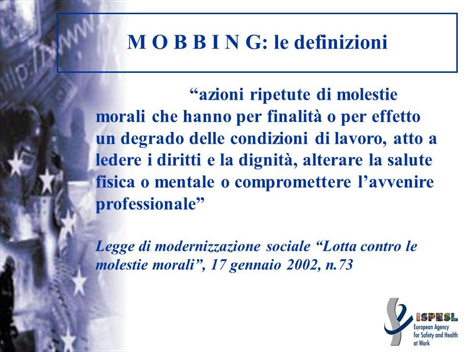 M O B B I N G: le definizioni