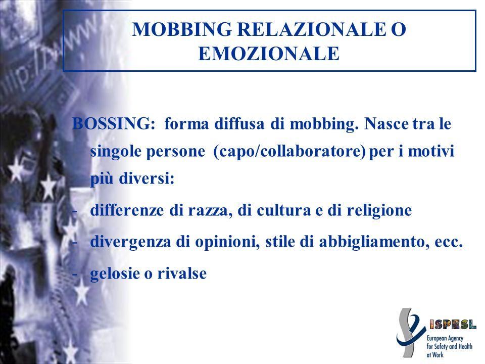 MOBBING RELAZIONALE O EMOZIONALE