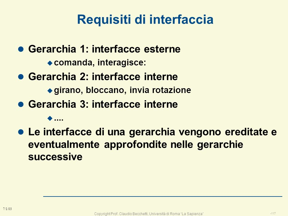 Requisiti di interfaccia