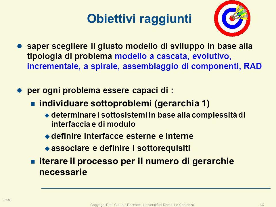 Obiettivi raggiunti individuare sottoproblemi (gerarchia 1)