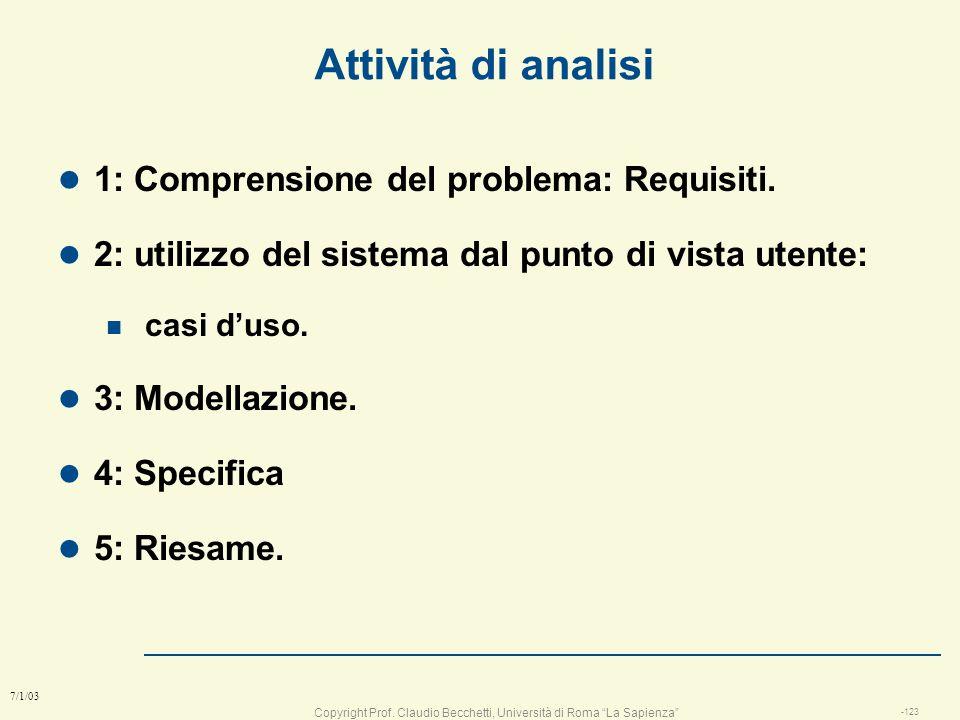 Attività di analisi 1: Comprensione del problema: Requisiti.