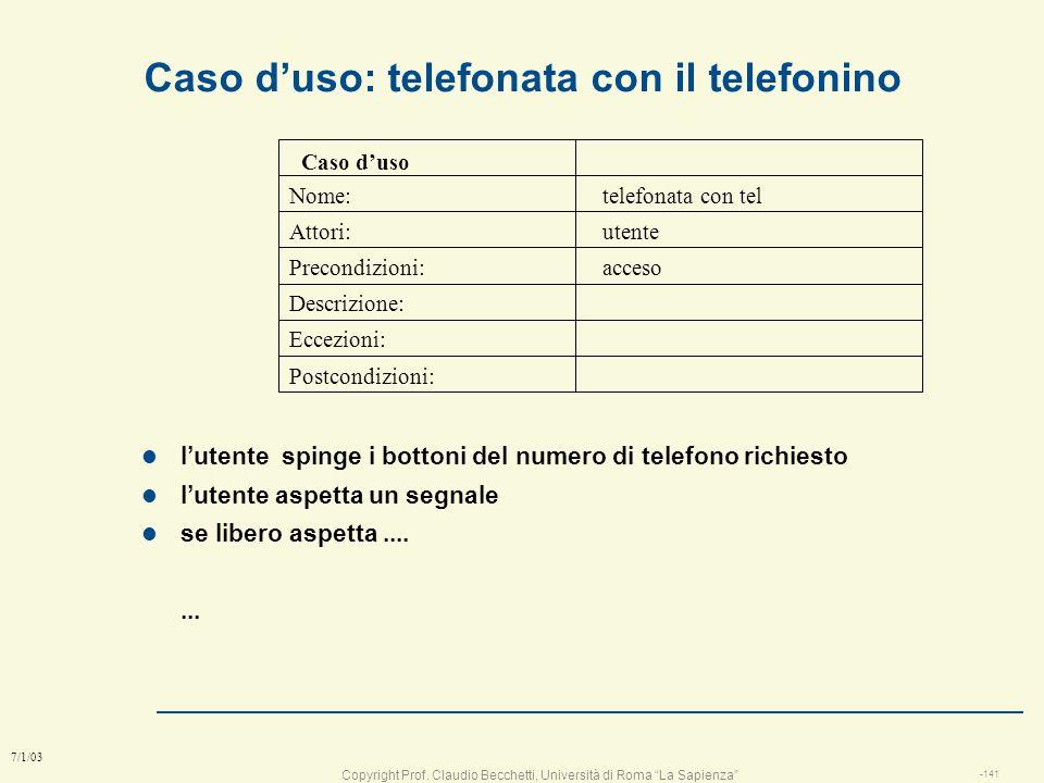 Caso d'uso: telefonata con il telefonino