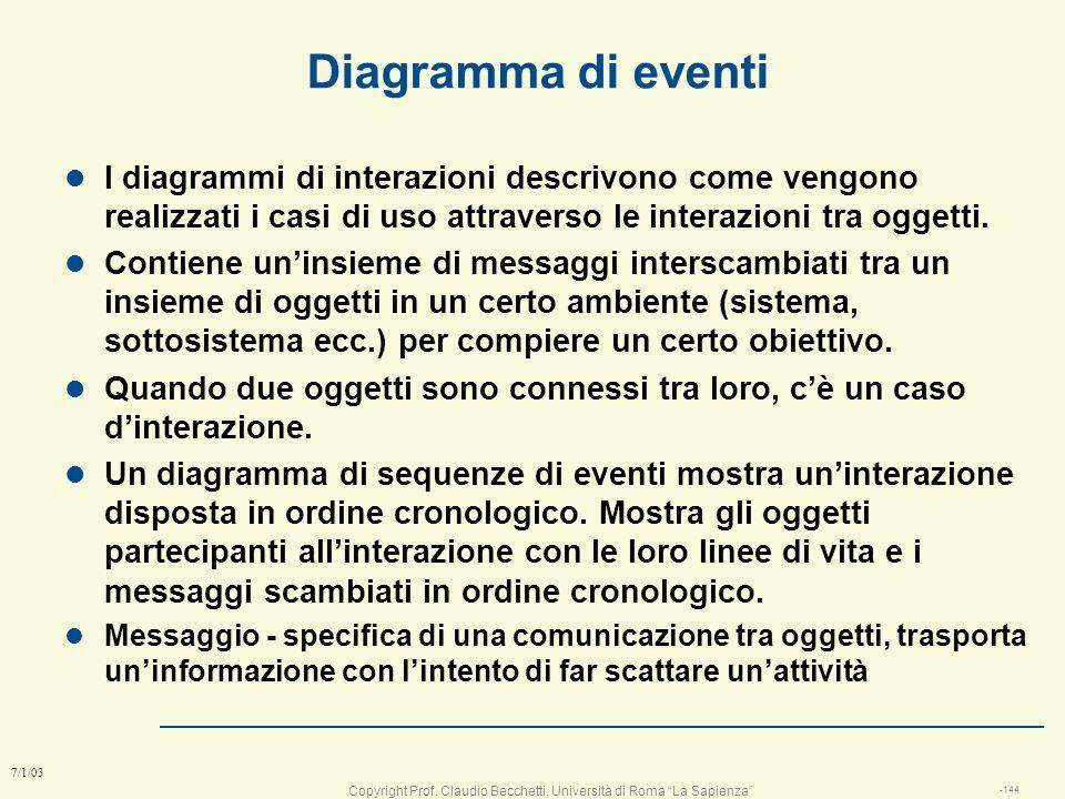 Diagramma di eventi I diagrammi di interazioni descrivono come vengono realizzati i casi di uso attraverso le interazioni tra oggetti.