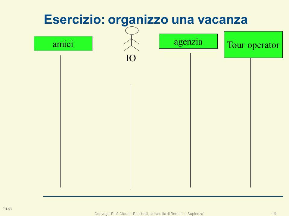 Esercizio: organizzo una vacanza