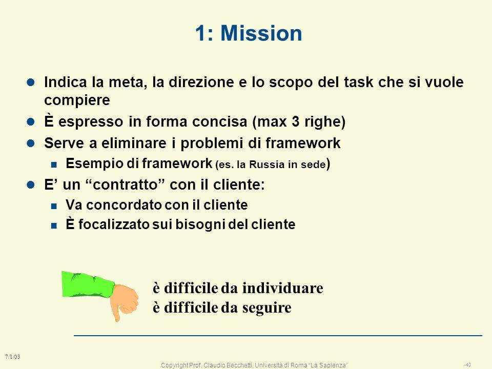 1: Mission è difficile da individuare è difficile da seguire