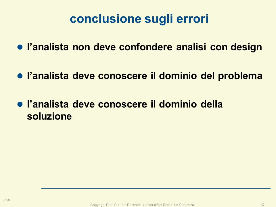 conclusione sugli errori
