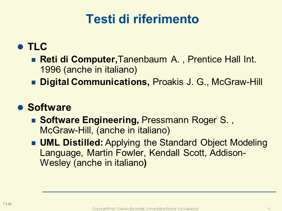 Testi di riferimento TLC Software