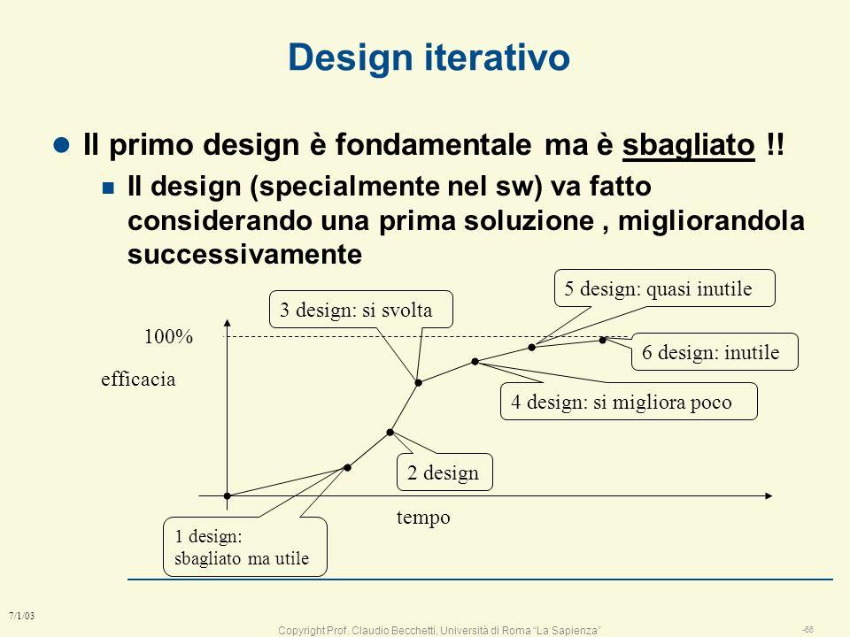 Design iterativo Il primo design è fondamentale ma è sbagliato !!