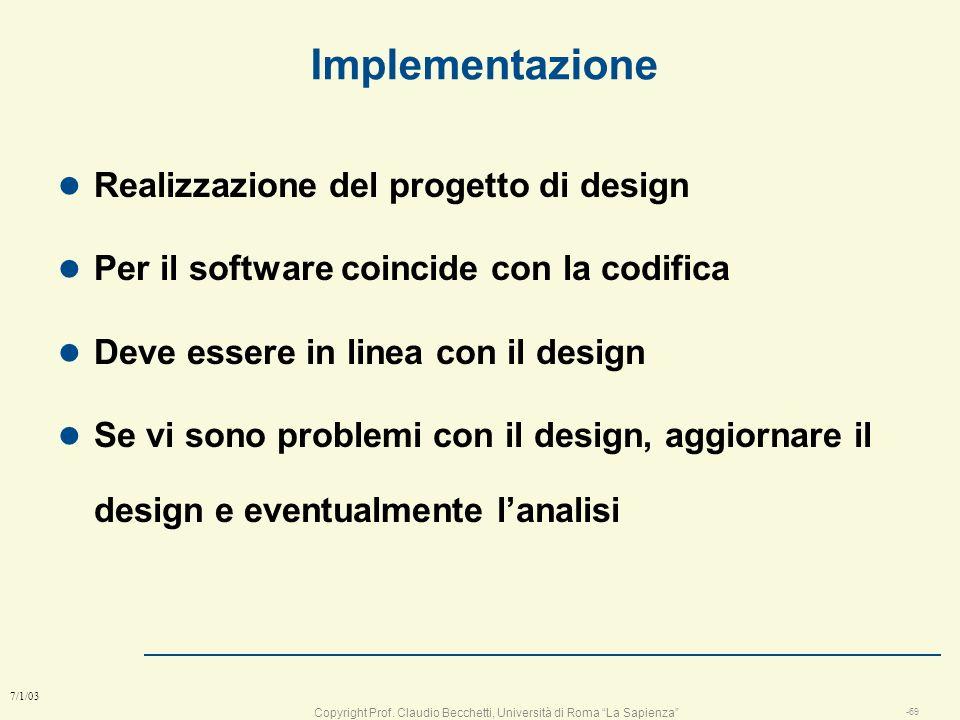 Implementazione Realizzazione del progetto di design
