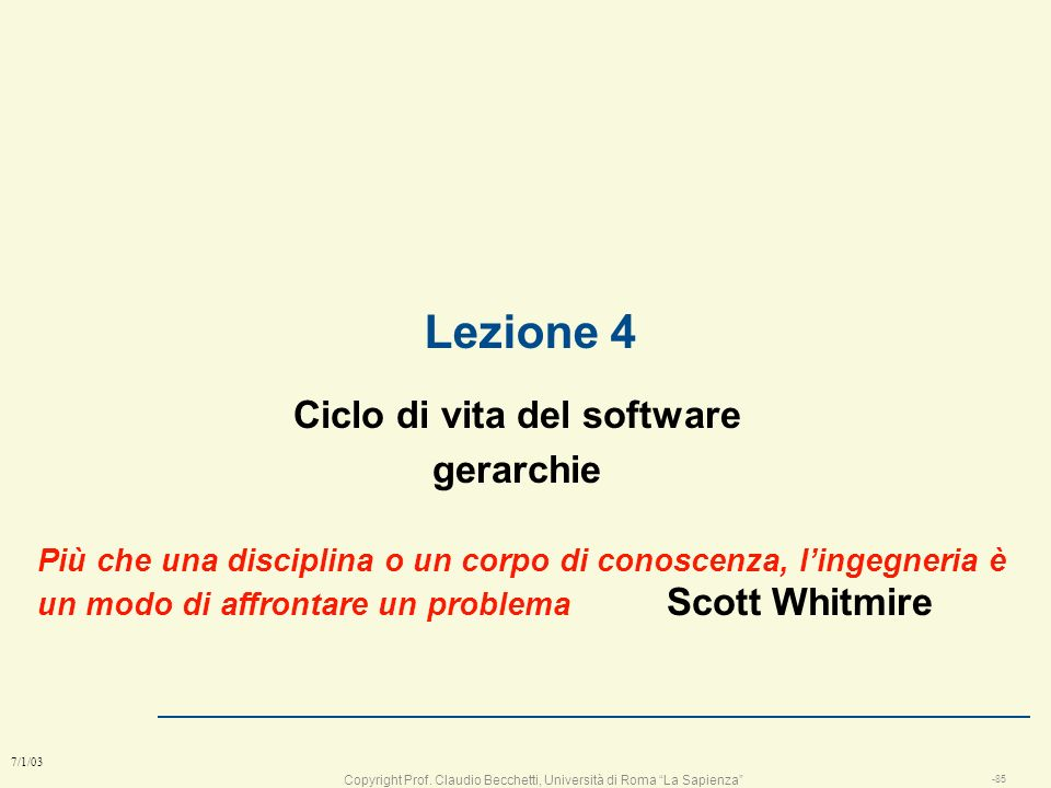Ciclo di vita del software gerarchie