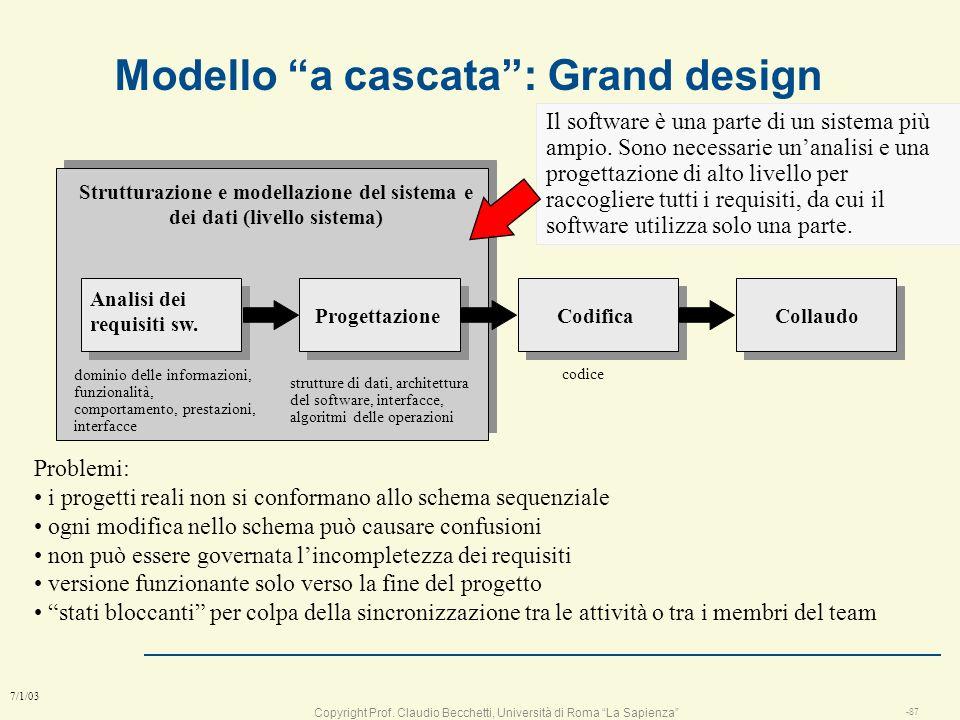 Modello a cascata : Grand design