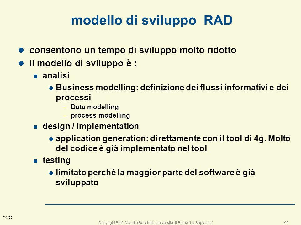 modello di sviluppo RAD