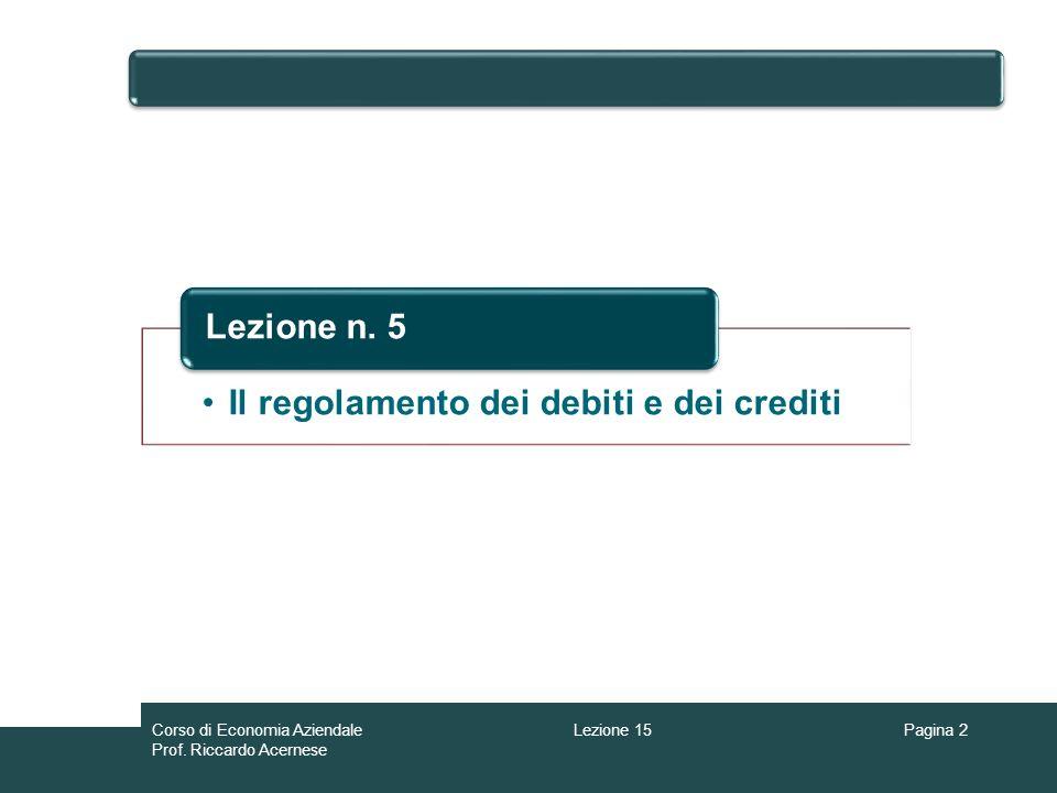 Corso di Economia Aziendale Prof. Riccardo Acernese Lezione 15