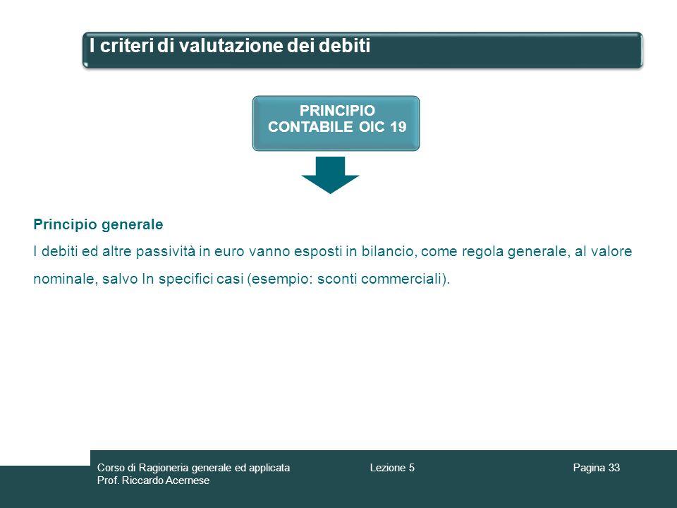 I criteri di valutazione dei debiti
