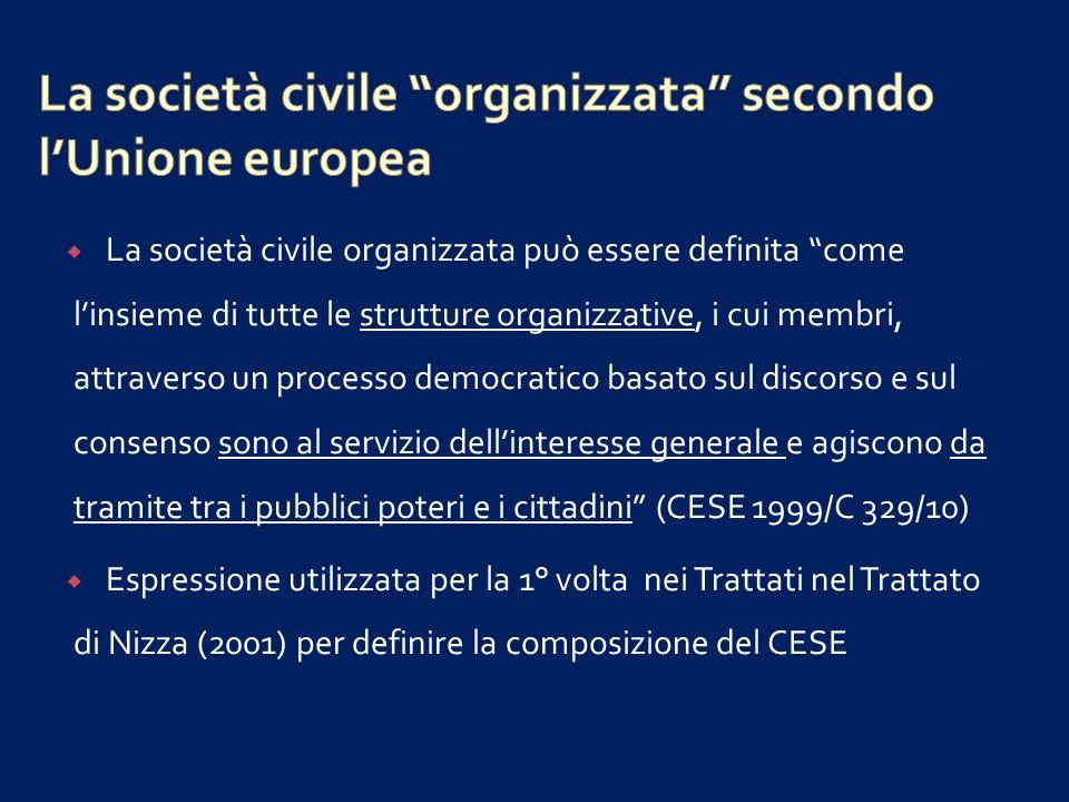 La società civile organizzata secondo l'Unione europea