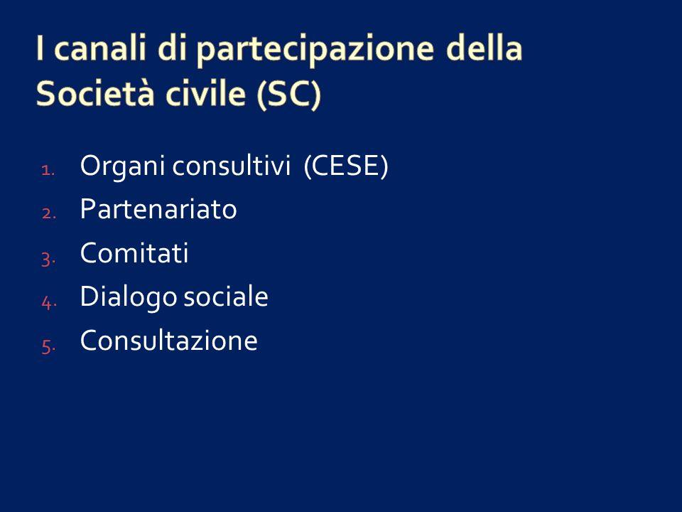 I canali di partecipazione della Società civile (SC)