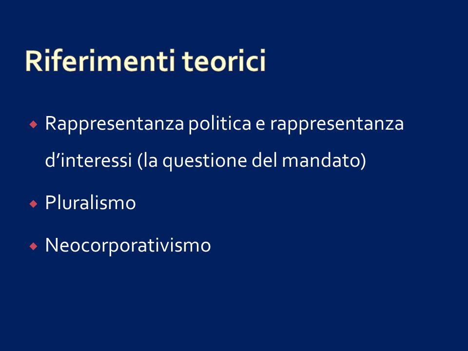 Riferimenti teorici Rappresentanza politica e rappresentanza d'interessi (la questione del mandato)