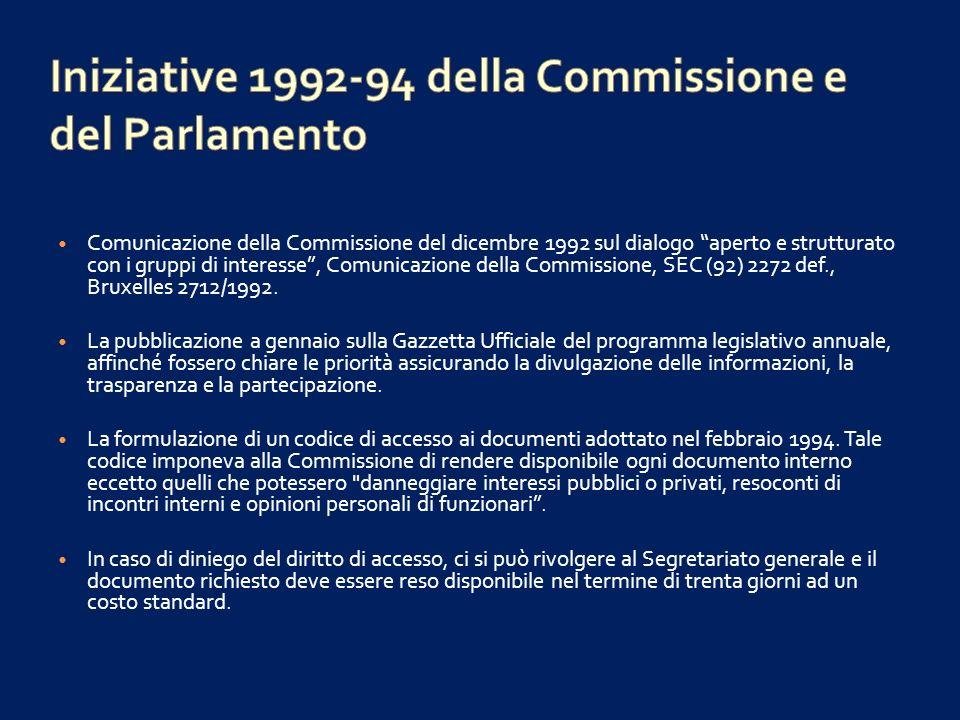 Iniziative 1992-94 della Commissione e del Parlamento