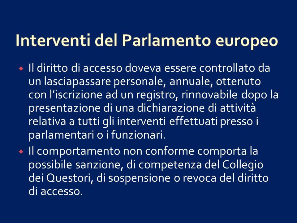 Interventi del Parlamento europeo