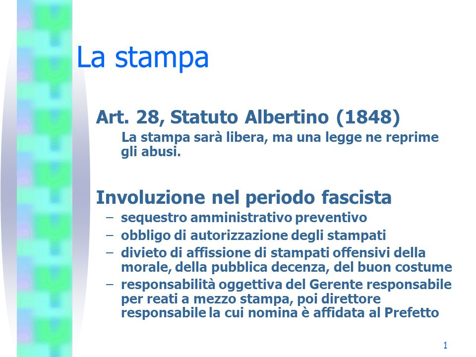 La stampa Art. 28, Statuto Albertino (1848)