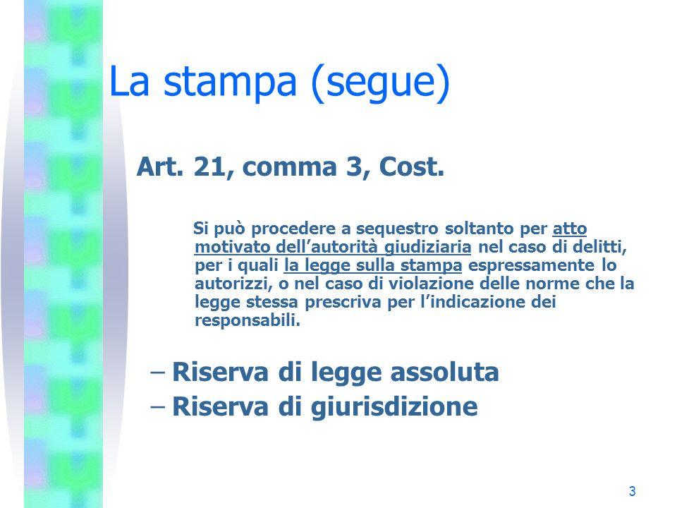 La stampa (segue) Art. 21, comma 3, Cost. Riserva di legge assoluta