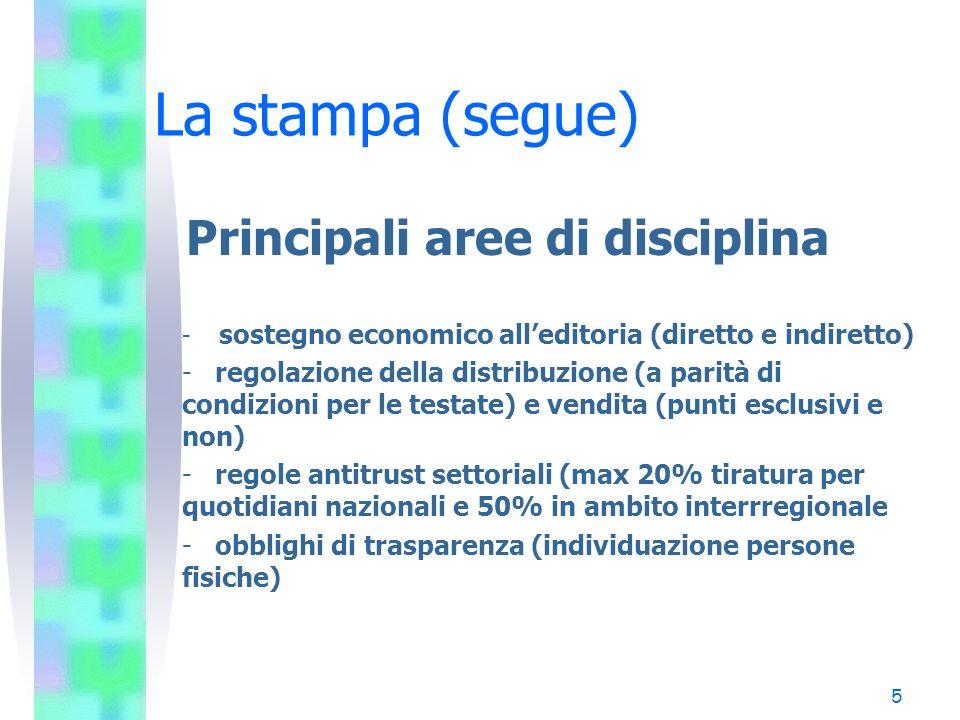 La stampa (segue) Principali aree di disciplina
