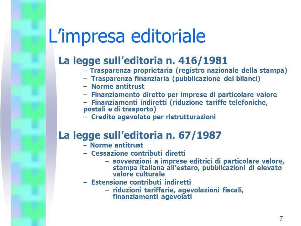 L'impresa editoriale La legge sull'editoria n. 416/1981